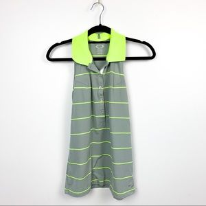Oakley Collared Grey & Yellow Striped Tank Top